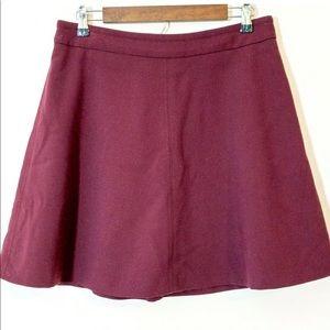 LOFT Burgundy A-Line Skirt Size 10 Rear Zip Skater